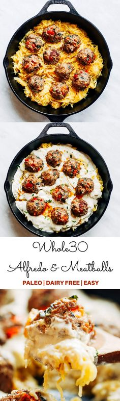 Best healthy paleo and whole30 creamy spaghetti squash noodles with italian meatballs and alfredo sauce! A delicious healthy paleo, dairy free, and whole30 recipe that can be made a head and frozen. Easy whole30 dinner recipes. Easy whole30 dinner recipes. Whole30 recipes. Whole30 lunch. Whole30 meal planning. Whole30 meal prep. Healthy paleo meals. Healthy Whole30 recipes. Easy Whole30 recipes. Easy whole30 dinner recipes.