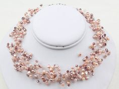 Multi Strands Pink Freshwater Pearl and Crystal Necklace - Women necklace