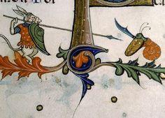 donkey warrior vs. killer snail Pontifical of Guillaume Durand, Avignon, before 1390 Paris, Bibliothèque Sainte-Geneviève, ms. 143, fol. 179v