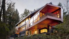 Modern house in the middle of the forest