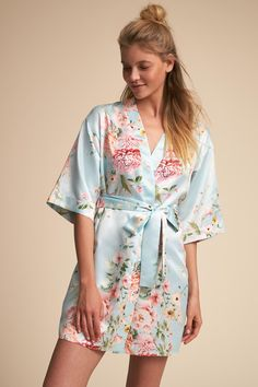 Available in a trio of coordinating soft colors, this airy robe features a delicate floral motif reminiscent of spring at peak bloom. Only available at BHLDN Pictured with Renata Romper Sleepwear Women, Lingerie Sleepwear, Nightwear, Sleepwear Sets, Lingerie Bonita, Jolie Lingerie, Style Baby, Pijamas Women, Pajama Outfits