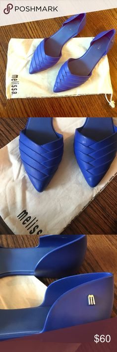 Melissa cobalt blue pointed flats 💙 Purchased from a pop up store in Miami, Florida. Melissa is a popular shoe brand in Brazil 🇧🇷 think of them as modern day jellies! I love these shoes but just don't wear them enough to justify keeping them. Some signs of wear as can be seen in the pictures, but are in great condition! Perfect for all year long! Melissa Shoes Flats & Loafers