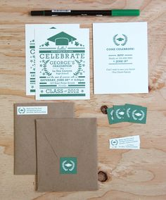 Modern Green Graduation Invitation Set featured on Ink Paper Hearts
