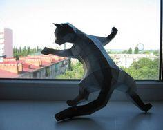 Animal Paper Model - Crawling Cat Free Template Download - http://www.papercraftsquare.com/animal-paper-model-crawling-cat-free-template-download.html#AnimalPaperModel, #Cat
