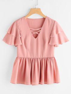 03f039104bcd1 Shop Crisscross Neck Princess Seam Flutter Sleeve Top online. SheIn offers  Crisscross Neck Princess Seam