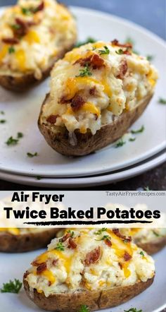 Our favorite holiday side dish just got better! This Air Fryer Twice Baked Pota… Our favorite holiday side dish just got better! This Air Fryer Twice Baked Potato Recipe is a great way to make cheesy stuffed potatoes using just your air fryer oven. Air Fryer Recipes Snacks, Air Fryer Recipes Vegetarian, Air Fryer Recipes Low Carb, Air Fryer Recipes Breakfast, Air Frier Recipes, Air Fryer Dinner Recipes, Airfryer Breakfast Recipes, Recipes Dinner, Easy Twice Baked Potatoes