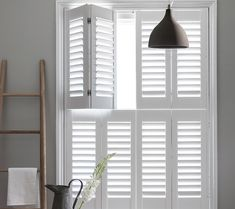 In The White Room combined eye-catching colour choices with custom-built set designs and creative styling for bespoke shutter specialists Clement Browne Wooden Window Shutters, Indoor Shutters, White Shutters, Interior Window Shutters, Faux Wood Plantation Shutters, Exterior Blinds, Wooden Hinges, White Rooms, Houses