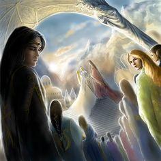 La boda de Tuor e Idril; a un lado Glorfindel nota el dolor de Maeglin - by alystraea