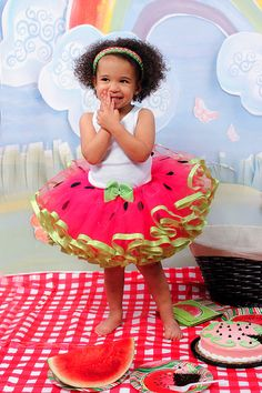 Watermelon inspired toddler girl tutu Summer fun RIBBON TRIM tutu pink and green on Etsy, $34.00