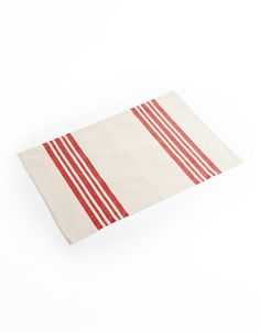 GlucksteinHome, Yarn Dyed Holiday Placemat, Natural/Red