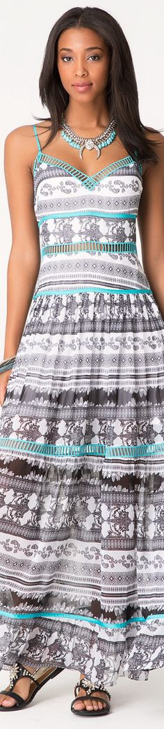 #aztec #print maxi summer dress. women fashion @roressclothes closet ideas