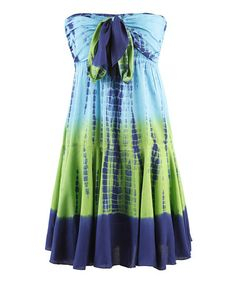 Take a look at this Blue & Green Divine Tie-Dye Strapless Dress by Peppermint Bay on #zulily today!