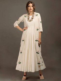 Off White Khadi Embroidered Jacket Pakistani Dresses, Indian Dresses, Indian Outfits, Indian Designer Outfits, Designer Dresses, Party Wear Dresses, Casual Dresses, Casual Wear, Modest Fashion