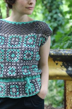 Cute Girl Squares Tank crochet pattern by Allyson Dykhuizen, in Knit Picks Gloss Fingering and Gynx Yarns Merino Sock/Fingering, from Holla Knits Crochet Collection 2013. knit crochet, peplum tops, crochet granny squares, granni squar, blog, crochet tops, crochet patterns, tank, belts