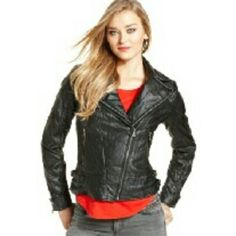 Guess Black Quilted Moto Leather Jacket A well made Black Quilted Faux Leather Jacket from Guess. It will worth every penny this jacket so versatile.  Note this might run slightly small would say a medium size person will fit perfectly. Guess Jackets & Coats Utility Jackets