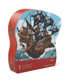 """Crocodile Creek 36-piece Pirate Floor Puzzle is beautifully illustrated...great for learning and play. A high quality puzzle that comes in a wonderful, heavy-duty, contour-shaped gift box. A slightly-recessed lid makes the storage box easy for little fingers to open. Rugged, jumbo pieces. Conforms to or exceeds both U.S. and European safety standards. Puzzle is 20""""W x 27""""L. Box is 9""""W x 11""""H x 3""""D."""