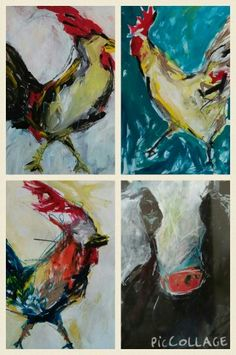 Chickens, Roosters, and Cows 18x24 acrylic and oil stick #cow #kinkasnow #rooster #chicken