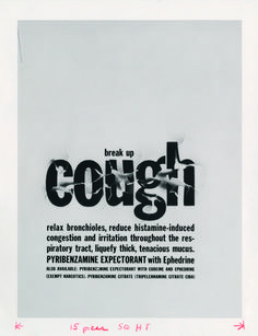 cough: A 1956 Lubalin pharmaceutical ad for Sudler & Hennessey