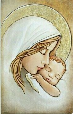 Sweet Mary and Jesus Blessed Mother Mary, Blessed Virgin Mary, Mother Art, Mother And Child, Catholic Art, Religious Art, Art Sketches, Art Drawings, Images Of Mary