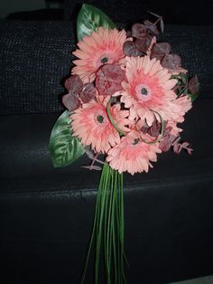 Artificial Gerbera and tropical greenery modern bouquet by Cathey's flowers