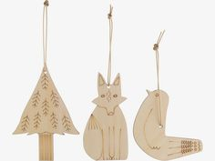 CHARACTERS NATURAL Wood Set of 3 tree decorations - HabitatUK