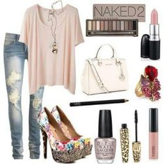 Drapey blush top, faded/distressed skinny jeans, different heels.