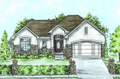 Traditional Style House Plans - 1663 Square Foot Home, 1 Story, 2 Bedroom and 2 3 Bath, 2 Garage Stalls by Monster House Plans - Plan 10-141...
