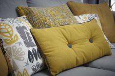 New Living Room Grey Mustard Cushions Ideas Mustard And Grey Cushions, Mustard And Grey Bedroom, Mustard Living Rooms, Yellow Cushions, Scatter Cushions, Yellow Fabric, Grey And Mustard Curtains, Cushions On Sofa Color Schemes, Mustard Sofa