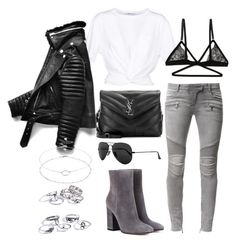 """""""Untitled #4958"""" by lilaclynn ❤ liked on Polyvore featuring T By Alexander Wang, Balmain, Yves Saint Laurent, Gianvito Rossi, Ray-Ban, Honeydew Intimates and Accessorize"""