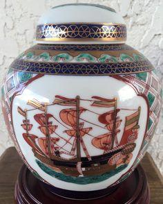"Imari Nanban GInger Jar 4.75""H x 6""D Gold Imari Mark"