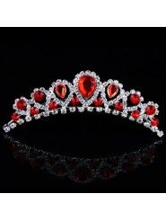 Beauitful Rhinestiones and Red Zircons Wedding Tiara
