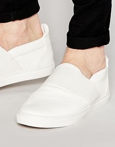 ASOS Slip On Sneakers in White With Elastic Strap