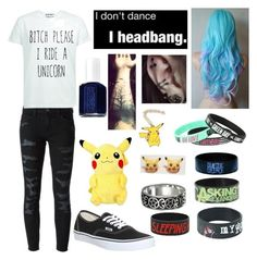 """""""I don't dance. I headbang."""" by colorfulkittens ❤ liked on Polyvore featuring Current/Elliott, Vans and Essie"""