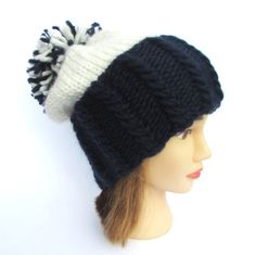 Penn state hat navy and white hat slouchy beanie by Johannahats