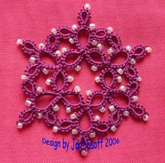 Tat-a-Renda Patterns: Rings only Snowflake with Beads - must learn how to split ring tatt #tatting