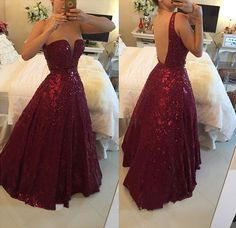 A-Line Burgundy Sweetheart Crystal Evening Dress with Beadings Open Back Floor Length Prom Gowns