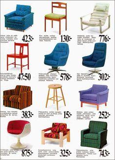 Tuolimainos Askolta, vuosi 1969.   Tässä on nämä hinnat erityisen kiinnostavia.     Joukossaon nyt hyvinkin arvostettuja design-tuoleja...