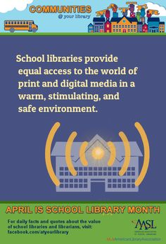 Reason School libraries provide equal access to the world of print and digital media in a warm, stimulating, and safe environment. Middle School, High School, Teacher Librarian, Youth Programs, School Libraries, Daily Facts, Ya Books, Library Ideas, Media Center