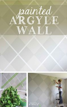 Omg I love argyle, I have to try this! What a fun painted wall treatment - tutorial for painting an argyle wall. Painting Tips, House Painting, Painting Techniques, Sponge Painting, Faux Painting, Mural Painting, Diy Home Decor Projects, Cool Diy Projects, Faux Finishes For Walls