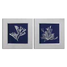 "Seaweed On Navy 26.125""W x 26.125""H Impressionist Paintings - Set of 2 at Build.com."
