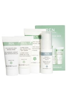 Super calm... This sensitive skincare set by REN features an array of soothing miniatures, including a day cream and a cleansing gel.
