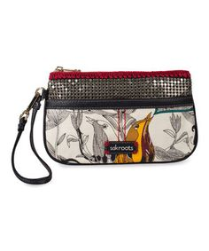 Give a shout-out to that artistic side with this wristlet finished in coated canvas. Keep the necessities organized thanks to an outside front pocket with a Velcro closure and a multifunction open pocket.