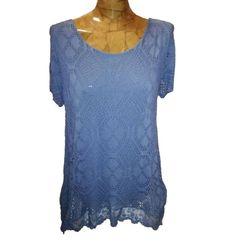 Maglia donna estate pizzo larga manica corta T-Shirt - geblümt