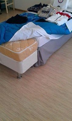 Zdeno Chara's bed at Sochi.  Poor Zdeno, they had to put an extension on the bed so he could fit comfortably on it.