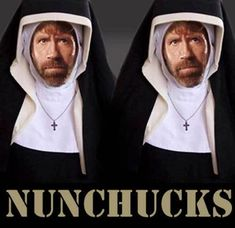 Nun Chucks from Catholic Memes website