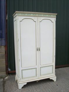 Edwardian painted shabby chic wardrobe. over 30 wardrobes at www.calico-cat.co.uk. This has been bespoke painted