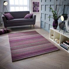 Nassar Hand-Woven Wool Purple Rug