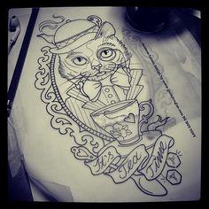 Image via We Heart It #aliceinwonderland #art #cat #cool #cup #drawing #frame #hat #tattoo #tea #teatime #tie