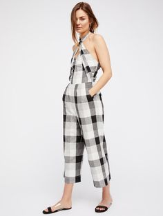 20f8f82abc8 Moon River Halter Neck Jumpsuit at Free People Clothing Boutique Gingham  Jumpsuit