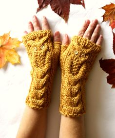 Owl Mustard Yellow Hand Knitted Arm Warmers Fingerless by NastiaDi